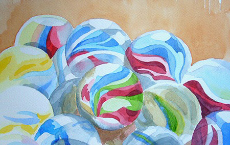watercolour painting, Marbles