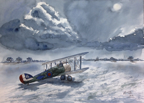 watercolour biplane