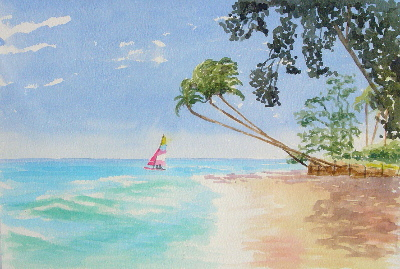 watercolour painting, beach