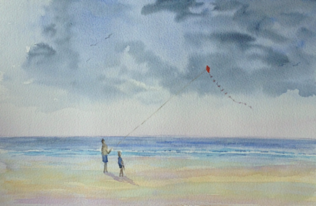 watercolour painting, kite flying on beach