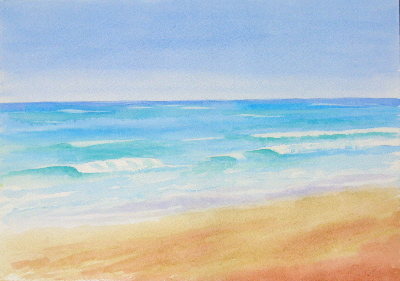 watercolour painting, Beach, Waves