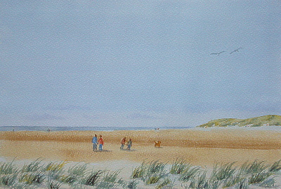 Holkham Beach in watercolour