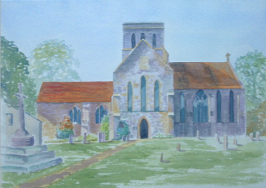 watercolour painting of a church