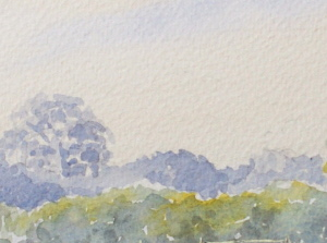 learn Watercolour, watercolour tutorial, distant trees