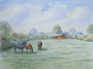 learn Watercolour, watercolour tutorial, horses in paddock
