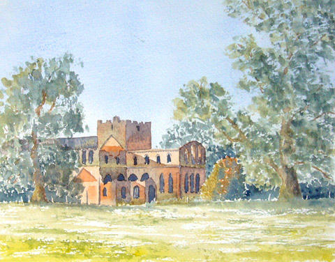 watercolour painting, Lanercost Priory, Cumbria