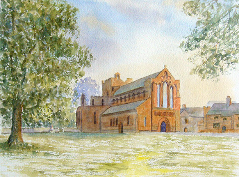 watercolour painting of Lanercost Priory