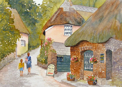 watercolour painting of Cockington, Devon