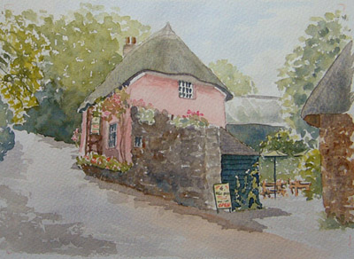 watercolour painting of Weaver's Cottage, Cockington