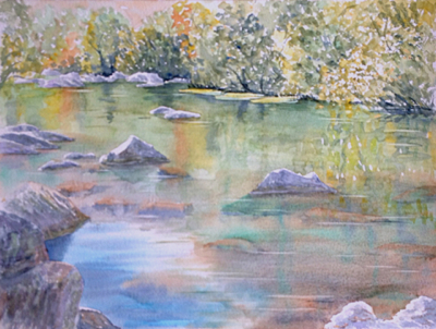 watercolour painting, Golden Pond