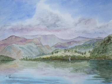 watercolour painting, Ullswater, Cumbria