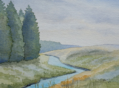 watercolour painting, Butterburn, Cumbria