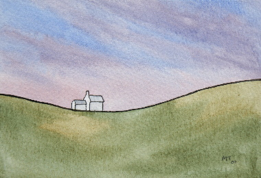 watercolour painting, Talkin Farm, Cumbria