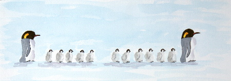 watercolour painting, Penguin Creche